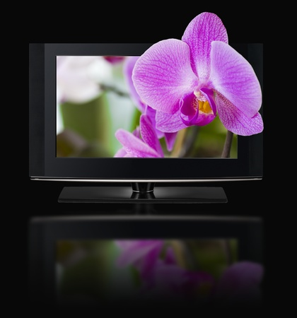 LCD TV panels. Television 3D production technology concept. Stock Photo