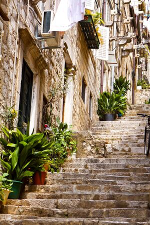 Old streets of old city in south of Croatia. photo