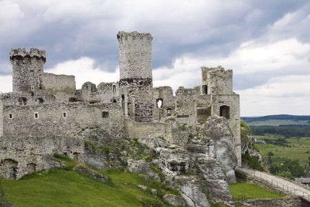 ogrodzieniec: The old castle ruins of Ogrodzieniec fortifications, Poland. HDR image.  Stock Photo