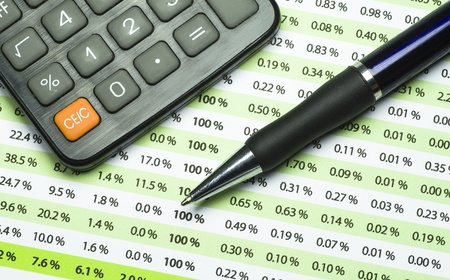 finacial: A calculator, pen, and financial statement. Stock Photo