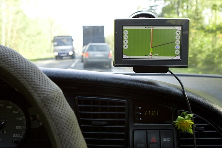 global positioning system: GPS Navigation system in a traveling car.  Stock Photo