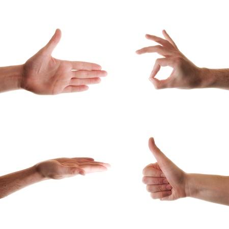 foda: Conjunto de gesturing manos aisladas sobre fondo blanco Foto de archivo
