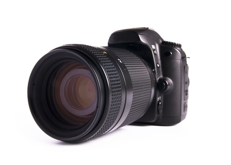 slr camera: A DSLR camera mounted with a pro lens standard zoom. Stock Photo