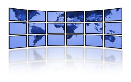 world at your fingertips: Flat LCD screens displaying the world earth map. Television technology. Stock Photo