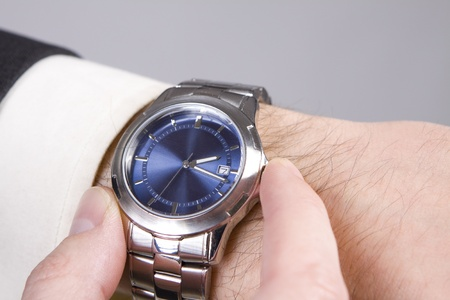 Hand ready to stop chronograph in a modern watch.  photo