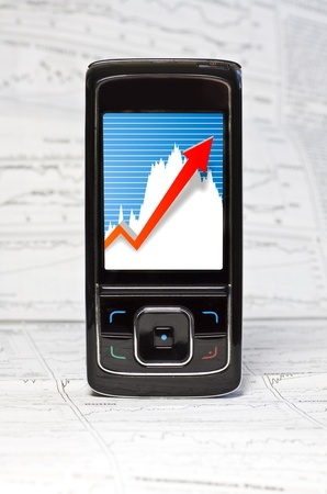 Market Analyze with Touchscreen Mobile photo