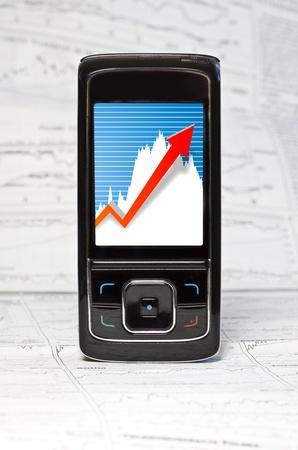 Market Analyze with Touchscreen Mobile Stock Photo - 10804546