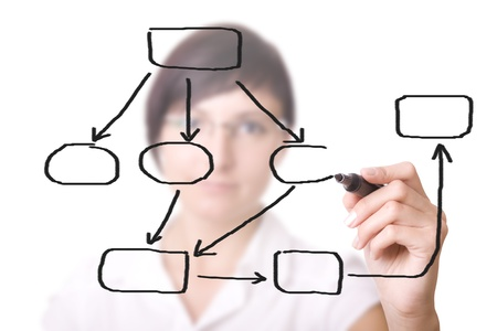 businesswoman with an empty diagram on white background. photo