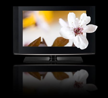 hd tv: LCD TV panels. Television 3D production technology concept. Stock Photo