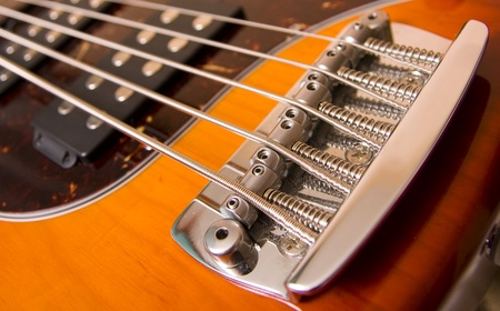 resonate: Classic electric guitar. Sunburst body. Stock Photo