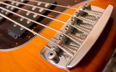 frets: Classic electric guitar. Sunburst body. Stock Photo