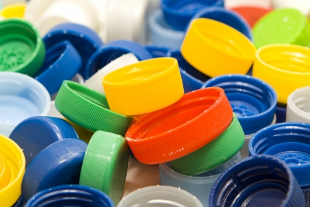 plastic: Lots of colorful plastic caps. Shot in studio.