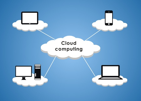 Cloud Computing in blue background photo