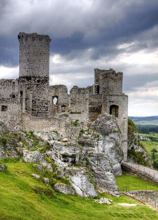 The old castle ruins of Ogrodzieniec fortifications, Poland. HDR image. Stock Photo - 12010922