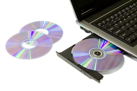 cd rw: detail of a laptop with open and loaded dvd drive
