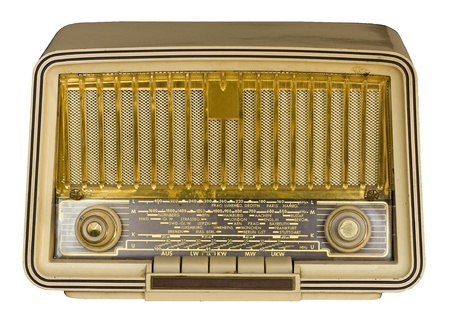 Antique very old vintage radio on white background. photo