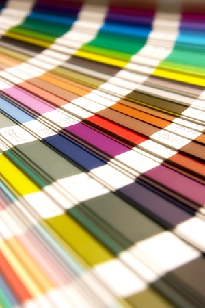 paint swatch: open Pantone sample colors catalogue