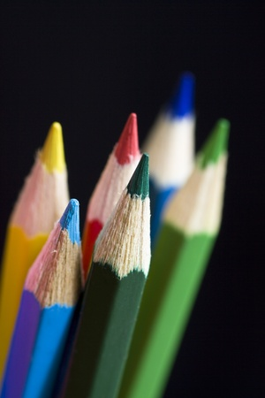 Color pencils on black background. Selective focus. Stock Photo - 12010911