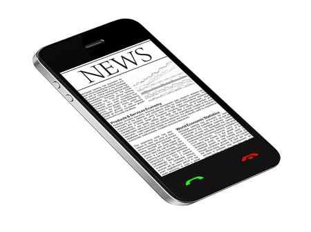 smart phone: News on mobile phone, smart phone. Isolated on white.