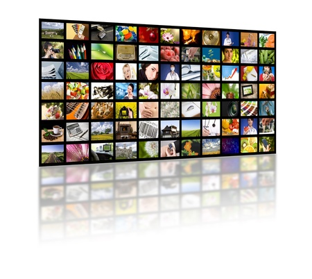 LCD TV panels. Television production technology concept.