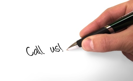 Fountain pen writing call us! Stock Photo - 12054737