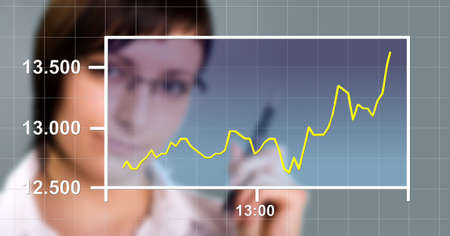 Business woman watching the upward trend of a graphic chart. photo