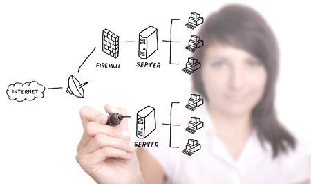 businesswoman drawing a security plan for a firewall system (selective focus)
