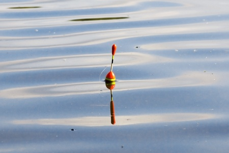 a bobber floating on a lake with the ripples spreading out around it  photo