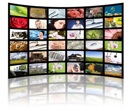 lcd tv: LCD TV panels. Television production technology concept.