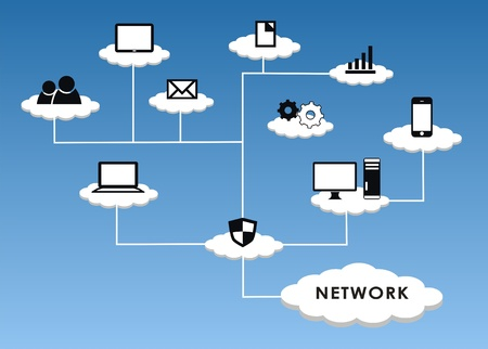 computer network diagram: Cloud Network in blue background