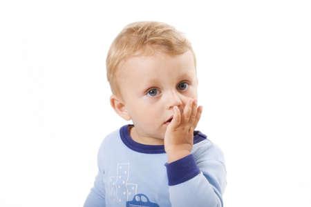 suprise: suprise child on white background. Studio shot