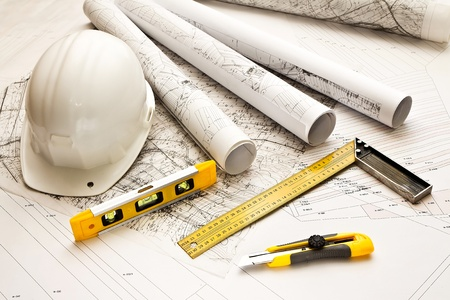 blueprints: architecture blue plans and work tool Stock Photo