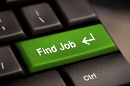 search solution: the green find job enter button key Stock Photo