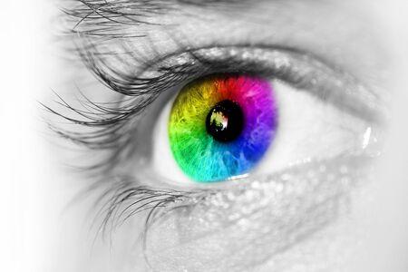 globo ocular: Vista lateral del ojo azul Foto de archivo