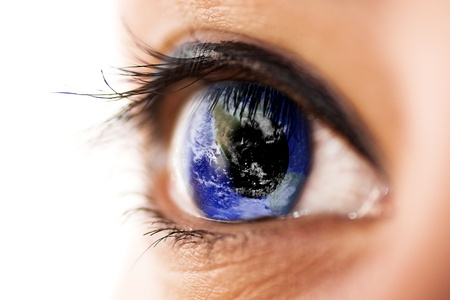 world thinking: Eye with planet earth  Earth