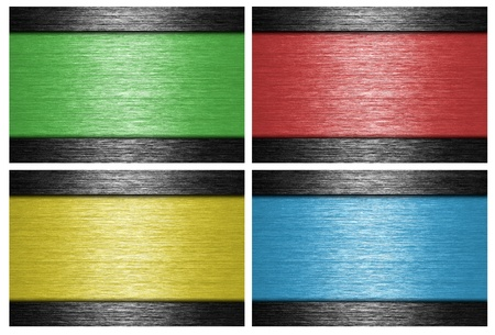 Colored, brushed metal banners  metallic background  photo