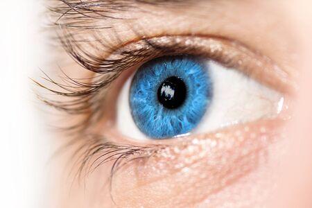 studio photography shot: Macro of a blue eye  Side view, selective focus  Stock Photo
