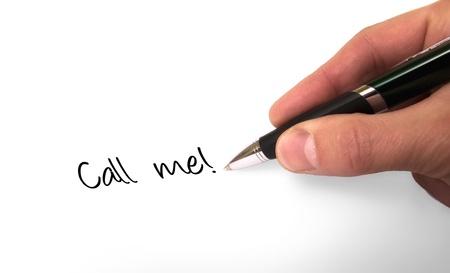 Fountain pen writing call me Stock Photo - 12883155