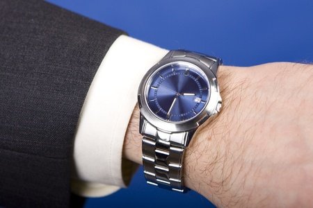 Hand ready to stop chronograph in a modern watch   photo