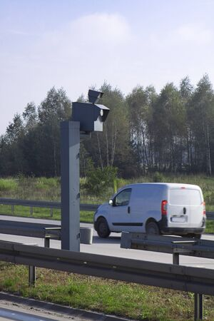Traffic Speed Camera  Police radar on the highway  photo