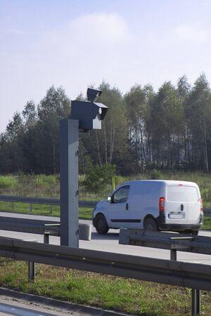 Traffic Speed Camera  Police radar on the highway  photo