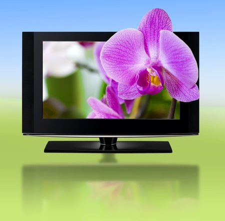 LCD TV panels  Television 3D production technology concept  photo