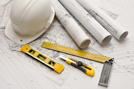 hardhat: architecture blue plans and work tool Stock Photo