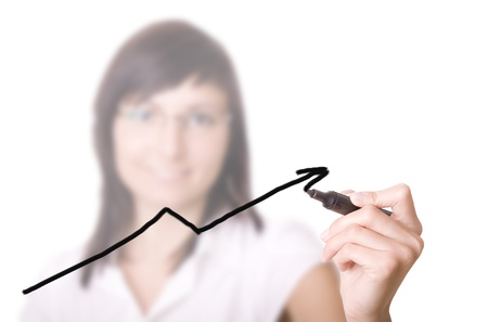 young businesswoman drawing graph   chart on white background   photo