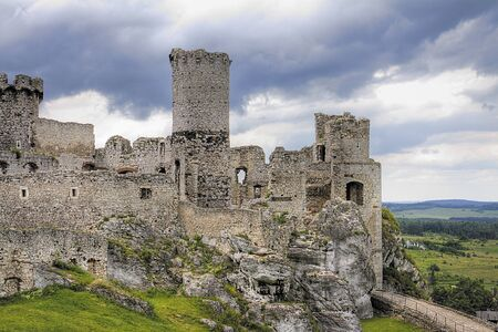 The old castle ruins of Ogrodzieniec fortifications, Poland  HDR image   photo