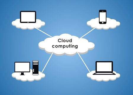 it support: Cloud Computing in blue background