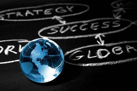Flowchart on a chalk board with world globe showing America Stock Photo - 13158480