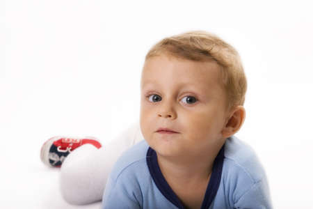 grandkid: happy child isolated on white  Stock Photo