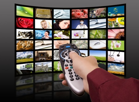 hd tv: LCD TV panels  Television production technology concept  Remote control  Stock Photo