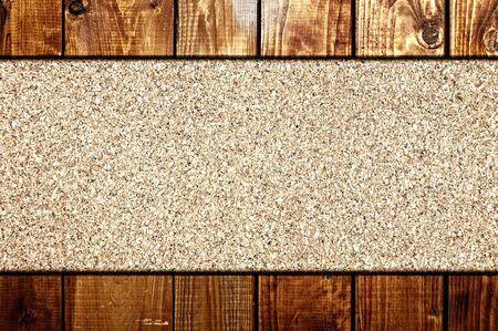 corkboard: Cork board at wooden panel wall interior background Stock Photo